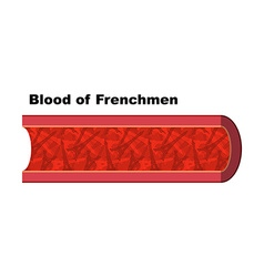 Blood of Frenchmen Blood cells in form of Eiffel vector