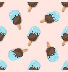 blue chocolate ice-cream seamless pattern in paper vector image