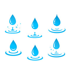 blue water drops set and splash vector image