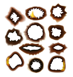 burned paper on a transparent background set vector image