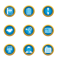 Business scope icons set flat style vector