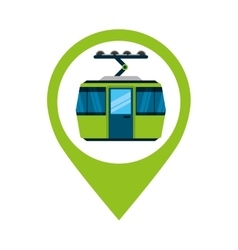 Cableway funicular transport icon vector