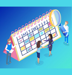 calendar and teamwork for digital marketing vector image