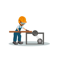 carpenter cutting a wooden plank vector image