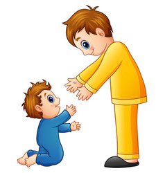cartoon dad holding his son hands vector image