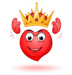 Cartoon smiling heart holds a crown above his head vector