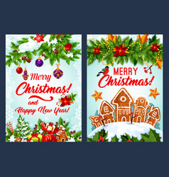Christmas cookie and new year garland card design vector
