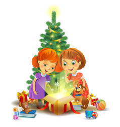 christmas miracle - girls opening a magic gift vector image