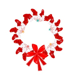 Christmas Wreath with Christmas Stocking and Bow vector image