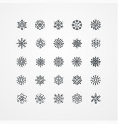 Collection of black snowflakes on a white vector