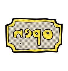 comic cartoon open sign vector image