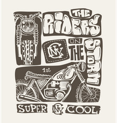 cool motorcycle print design vector image