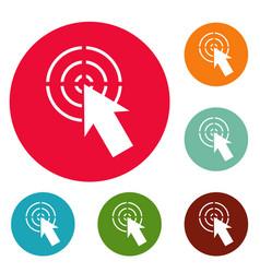 cursor shape icons circle set vector image