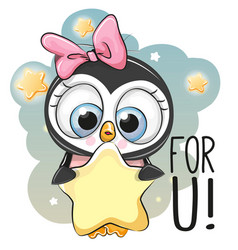 Cute cartoon penguin girl with star vector