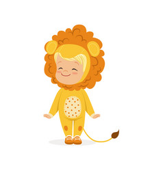 cute happy little boy dressed as a lion cub kids vector image