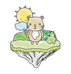 doodle female mouse animal in the float island vector image