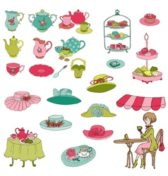 English Tea Party Set vector image