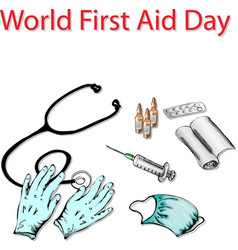 first aid day vector image