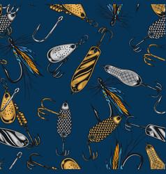 Fishing baits vintage seamless pattern vector