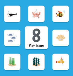 Flat icon nature set of seafood cancer alga and vector