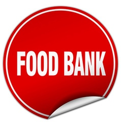 Food bank round red sticker isolated on white vector