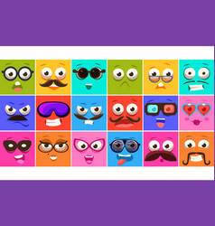 Funny colorful square faces se with different vector