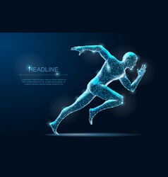 Geometric running man plygonal 3d wireframe speed vector