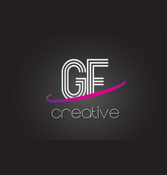 gf g f letter logo with lines design and purple vector image