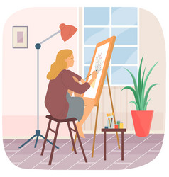 Girl is painting still life woman transfers image vector