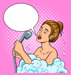 girl singing in the shower pop art vector image