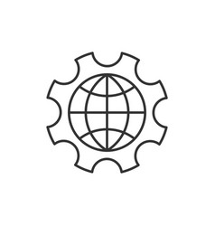 Globe inside gear vector