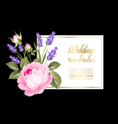Gold wedding invitation vector