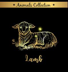 Golden and royal hand drawn emblem of farm lamb vector
