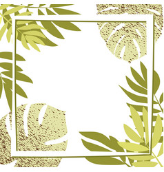 green tropical leaves with frame vector image