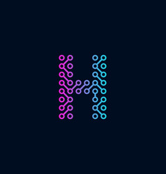 h circuit technology letter logo icon design vector image