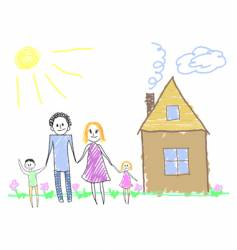 happy family near the house vector image