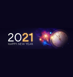 happy new 2021 year background with clock vector image