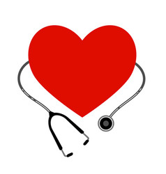 heart with a stethoscope icon on white background vector image