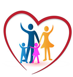 Heart with caring family people icon logo vector