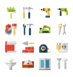 Home repair flat icons set vector image