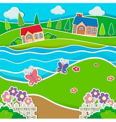 Houses by the river vector