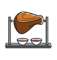 Huge meat piece on skewer with two sauces vector