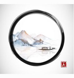 island with mountains and fishing boat in black vector image