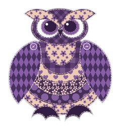 Isolated red patchwork owl vector image