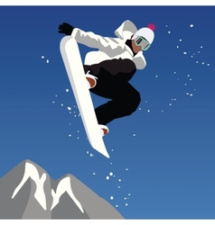 Jumping snowboarder vector image