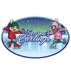 kids ice skating seasons greeting vector image