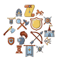 Knight medieval icons set cartoon style vector