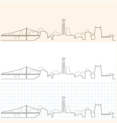Lisbon hand drawn skyline vector