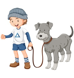 Little boy taking dog out for a walk vector