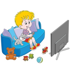 Little TV viewer vector